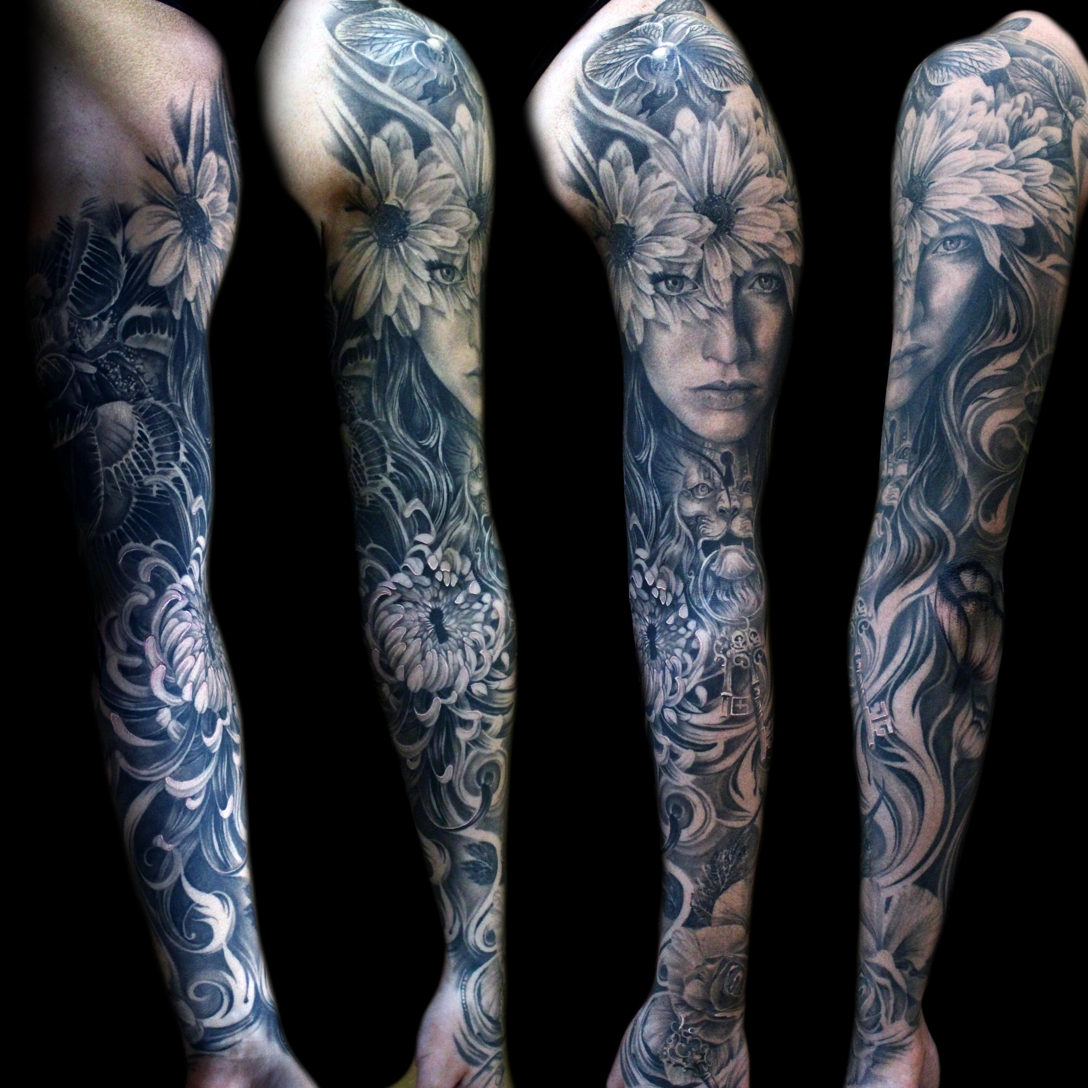 Face Sleeve Tattoo: Flower-face-morph-sleeve-tattoo-mancia