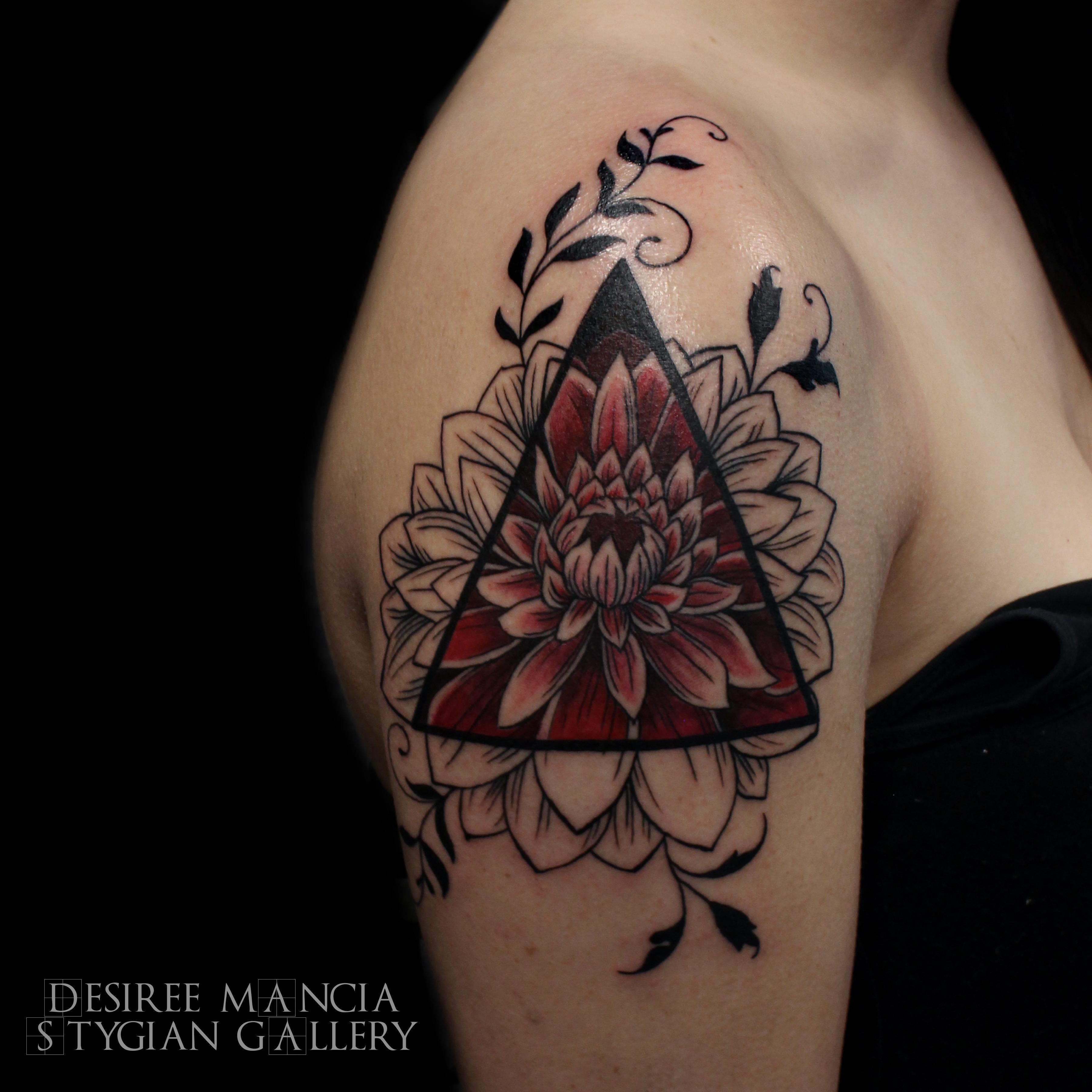 Geometric Flower Dahlia Tattoo Stygian Gallery